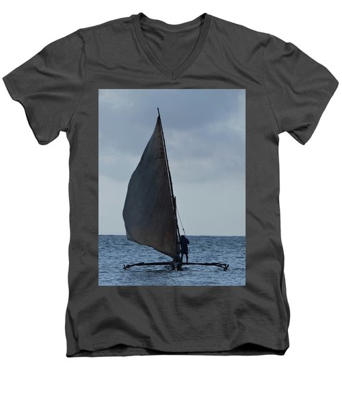 Dhow Wooden Boats In Sail Men's V-Neck T-Shirt by Exploramum Exploramum