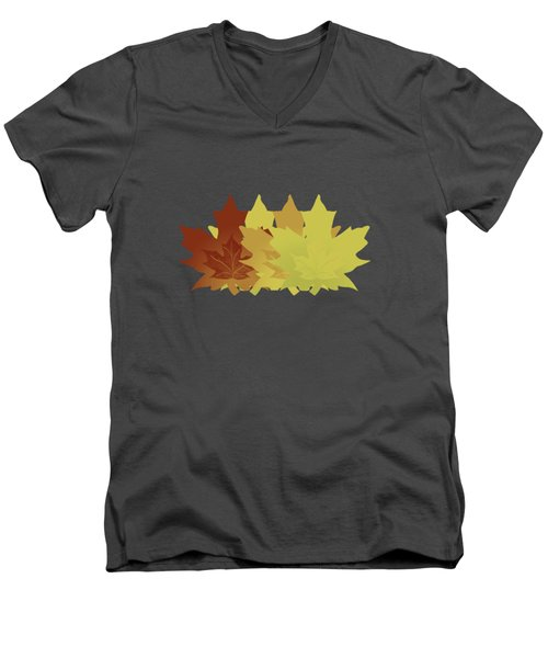 Men's V-Neck T-Shirt featuring the digital art Diagonal Leaf Pattern by Methune Hively