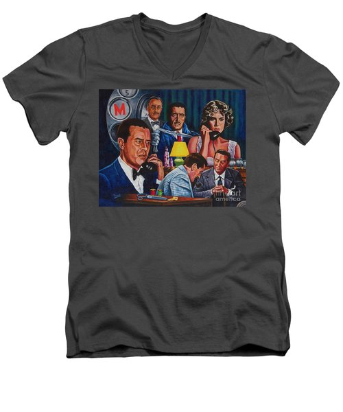 Men's V-Neck T-Shirt featuring the painting Dial M For Murder by Michael Frank
