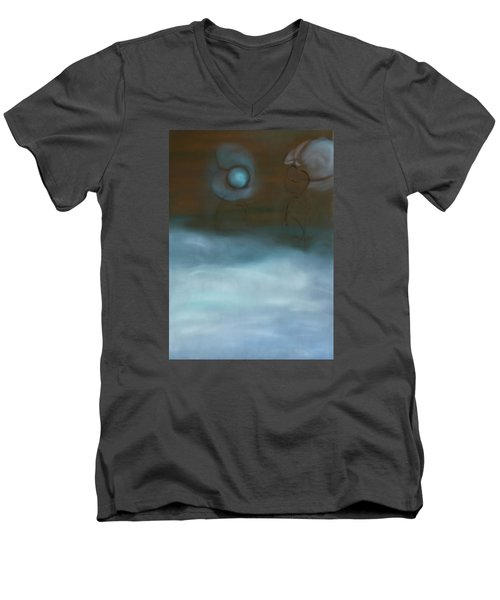 Men's V-Neck T-Shirt featuring the painting Dialog by Min Zou