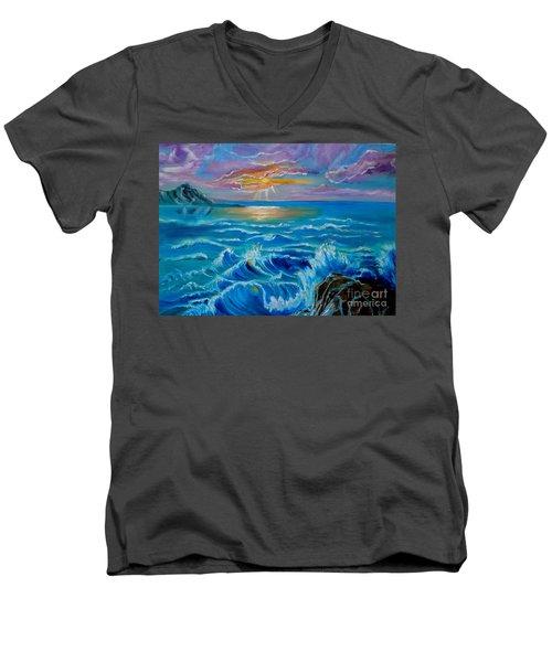 Diamond Head Sunset Jenny Lee Discount Men's V-Neck T-Shirt