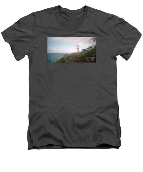 Diamond Head Light House Men's V-Neck T-Shirt by Ted Pollard