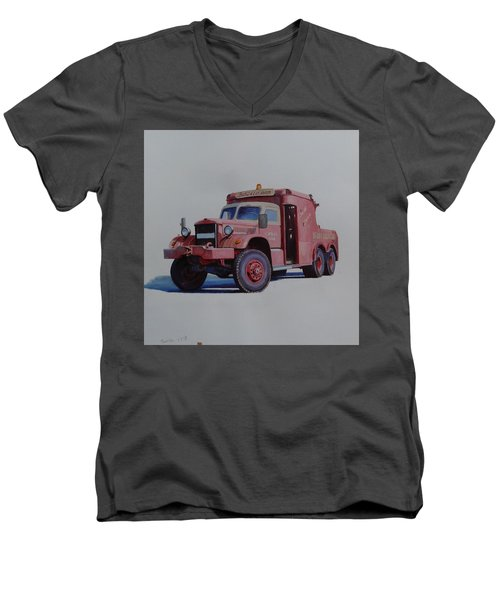 Men's V-Neck T-Shirt featuring the painting Diamond T Wrecker. by Mike Jeffries