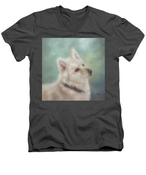 Diamond, The White Shepherd Men's V-Neck T-Shirt by Colleen Taylor