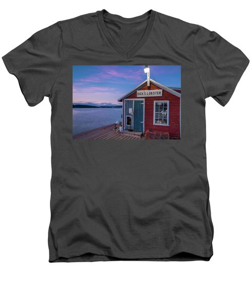 Men's V-Neck T-Shirt featuring the photograph Dicks Lobsters - Crabs Shack In Maine by Ranjay Mitra