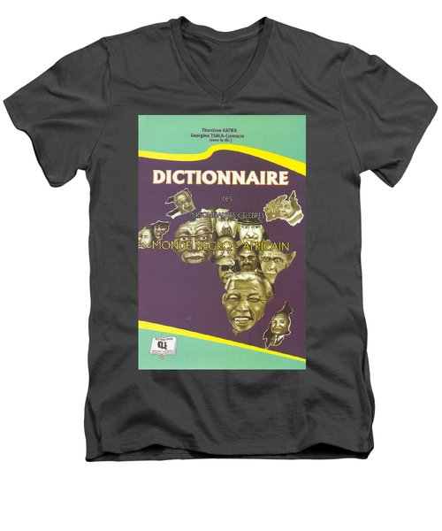 Men's V-Neck T-Shirt featuring the painting Dictionary Of Negroafrican Celebrities 1 by Emmanuel Baliyanga