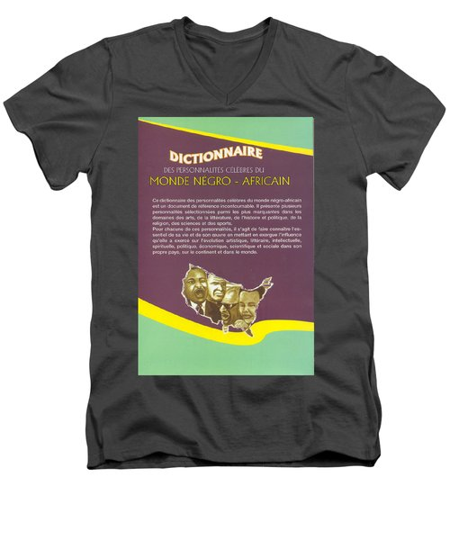 Men's V-Neck T-Shirt featuring the painting Dictionary Of Negroafrican Celebrities 2 by Emmanuel Baliyanga
