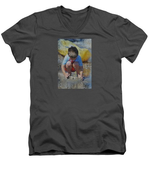 Men's V-Neck T-Shirt featuring the photograph Digging To China 2 by Kate Word