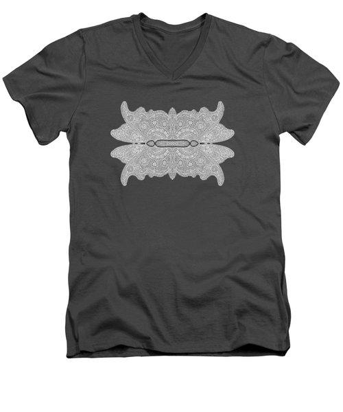 Digital Crochet Men's V-Neck T-Shirt by Linda Phelps
