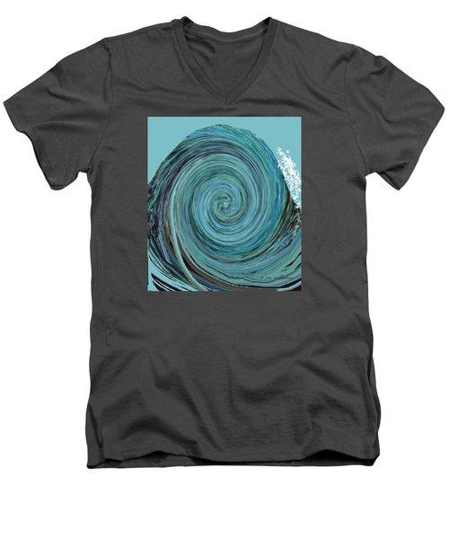 Digital Curl Men's V-Neck T-Shirt by Joan Hartenstein