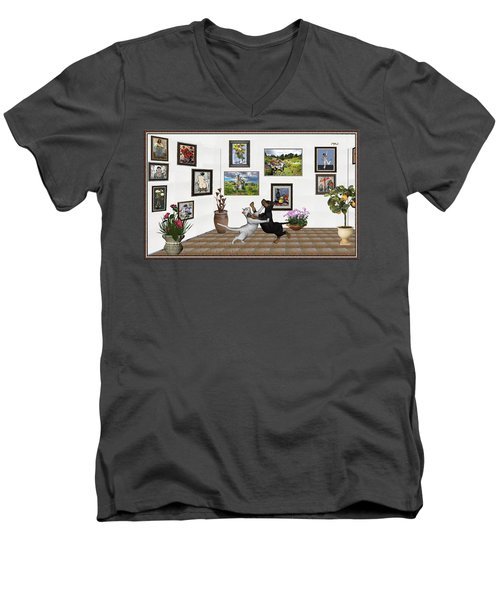 Men's V-Neck T-Shirt featuring the mixed media Digital Exhibition _ Dancing Lovers by Pemaro