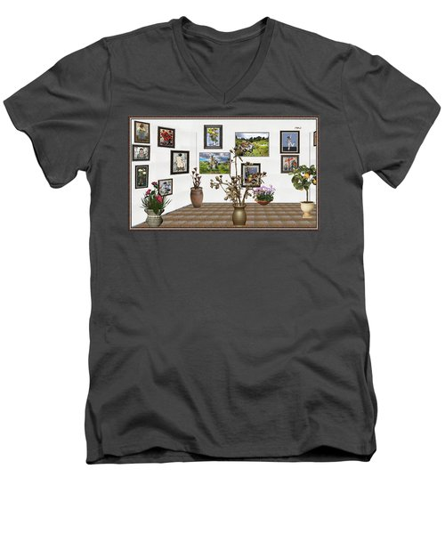 Men's V-Neck T-Shirt featuring the mixed media digital exhibition _ Modern Statue of Modern statue of branches by Pemaro
