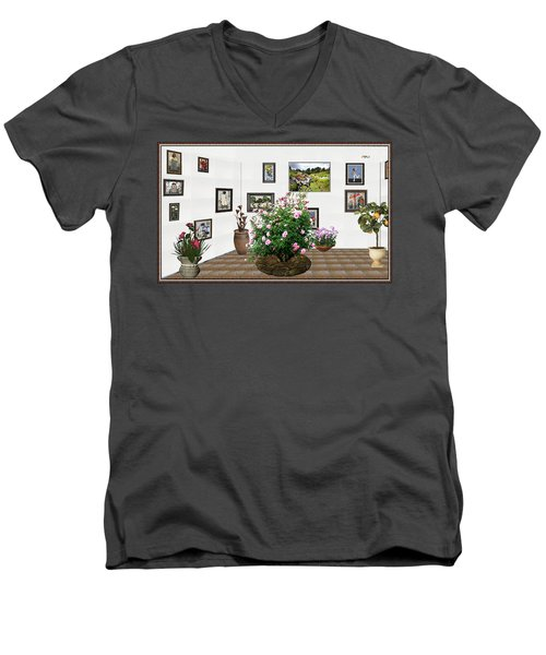 Men's V-Neck T-Shirt featuring the mixed media Digital Exhibition _ Roses Blossom 22 by Pemaro