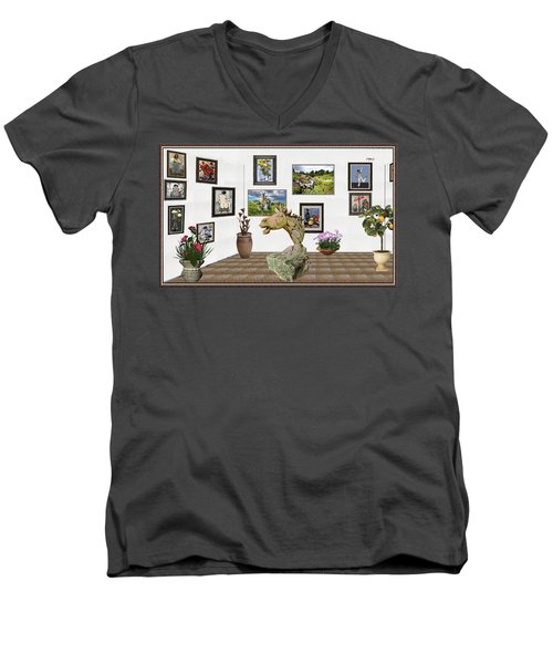 Men's V-Neck T-Shirt featuring the mixed media Digital Exhibition _  Sculpture Of A Horse by Pemaro