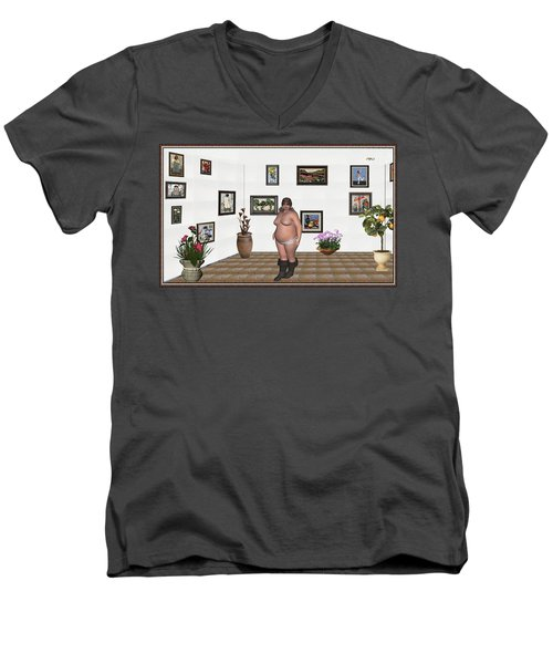 Men's V-Neck T-Shirt featuring the mixed media Digital Exhibition  22 Of Posing Lady  by Pemaro