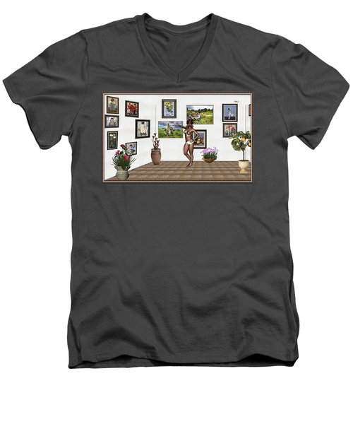 Men's V-Neck T-Shirt featuring the mixed media digital exhibition 32 _ posing  Girl 32  by Pemaro