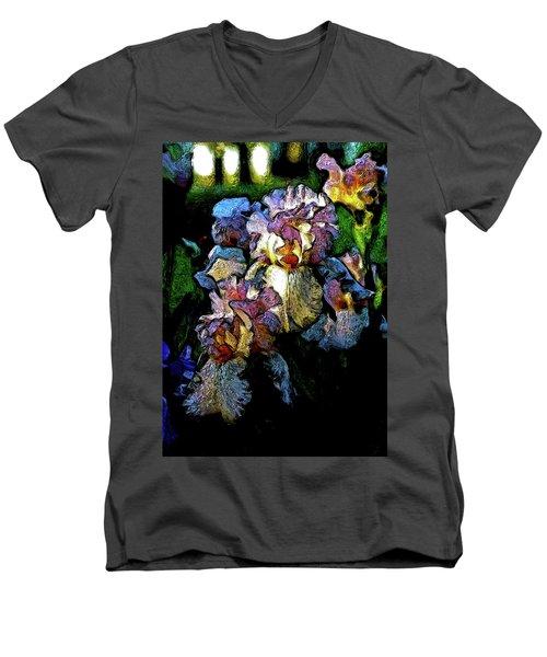 Digital Expressionist Painting Pale Pink Irises 6702 W_4 Men's V-Neck T-Shirt