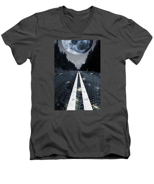 Digital Highway And A Full Moon Men's V-Neck T-Shirt