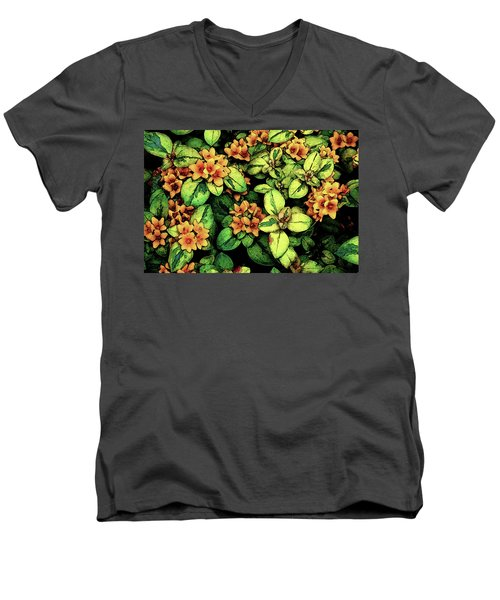 Digital Painting Quilted Garden Flowers 2563 Dp_2 Men's V-Neck T-Shirt