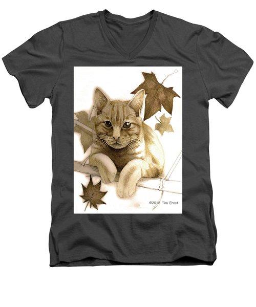 Digitally Enhanced Cat Image Men's V-Neck T-Shirt