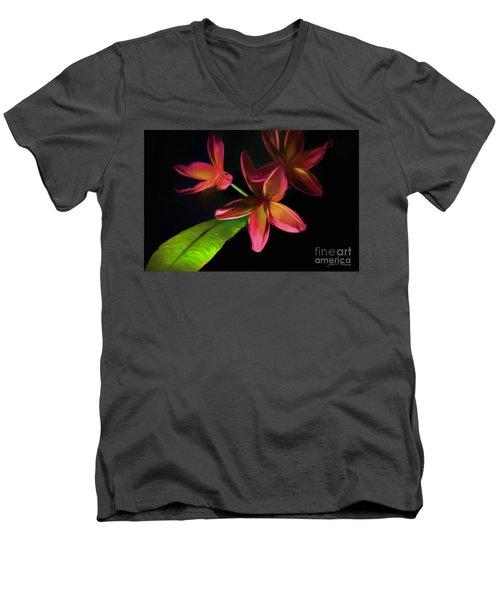 Digitized Sunset Plumerias #2 Men's V-Neck T-Shirt