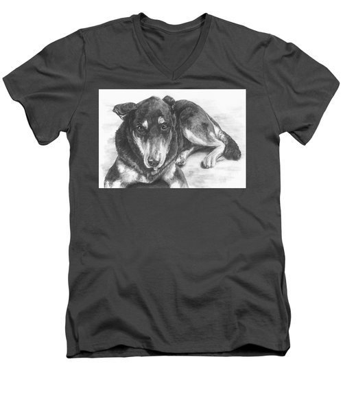 Men's V-Neck T-Shirt featuring the drawing Dillon by Meagan  Visser