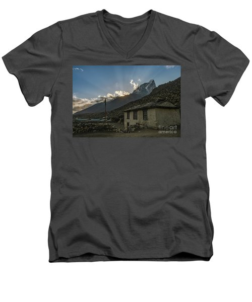 Men's V-Neck T-Shirt featuring the photograph Dingboche Nepal Sunrays by Mike Reid