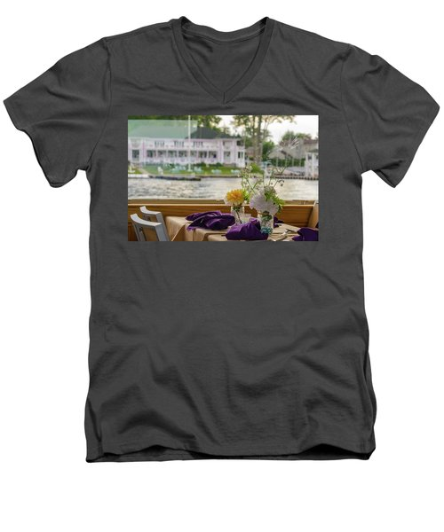 Men's V-Neck T-Shirt featuring the photograph Dining Aboard The Miss Lotta by Maureen E Ritter