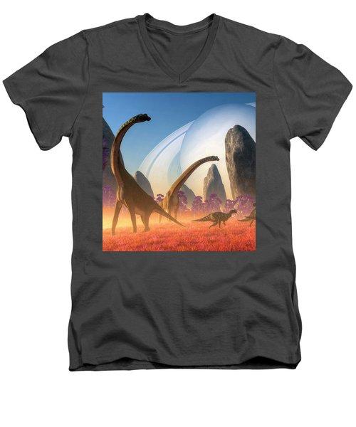Dinosaur Moon Men's V-Neck T-Shirt