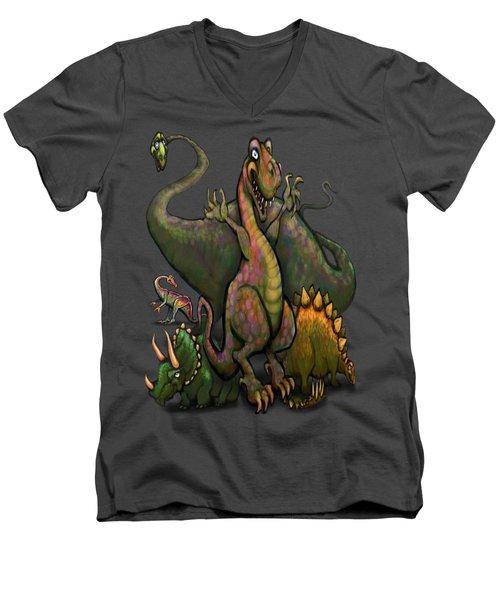 Dinosaurs Men's V-Neck T-Shirt by Kevin Middleton