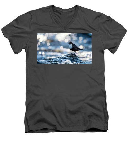 Men's V-Neck T-Shirt featuring the photograph Dipper On Ice by Torbjorn Swenelius
