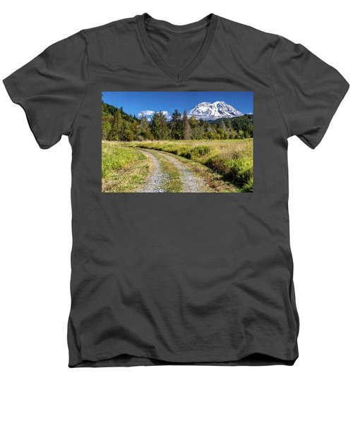 Dirt Road To Mt Rainier Men's V-Neck T-Shirt
