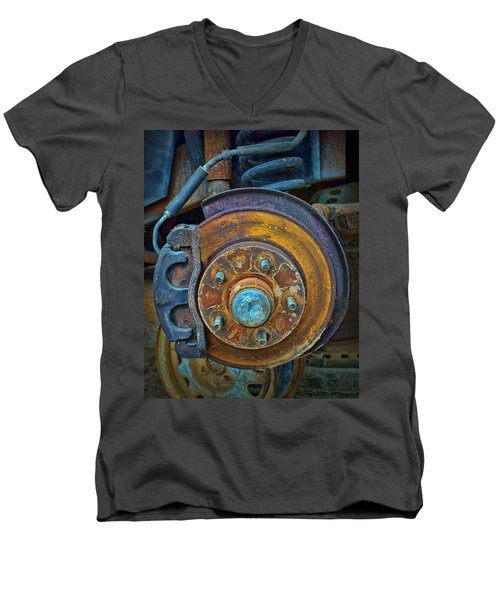 Men's V-Neck T-Shirt featuring the photograph Disc Brake Assembly by Nikolyn McDonald