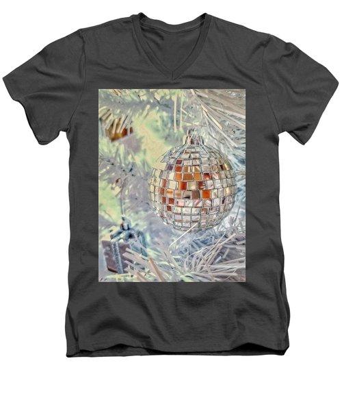 Disco Ball Tree Ornament Men's V-Neck T-Shirt