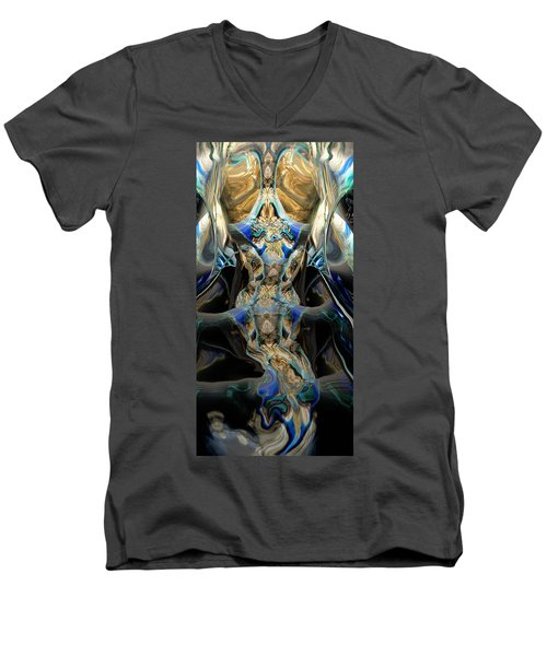 Men's V-Neck T-Shirt featuring the painting Discourse Of Course by Steve Sperry