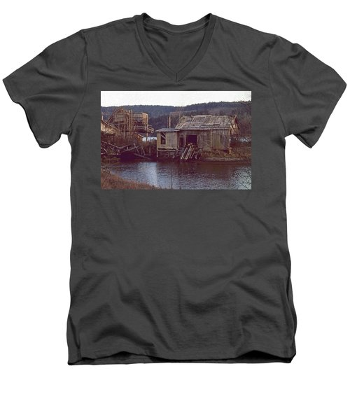 Discovery Bay Mill Men's V-Neck T-Shirt by Laurie Stewart