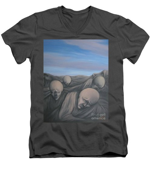 Men's V-Neck T-Shirt featuring the painting Dismay by Michael  TMAD Finney