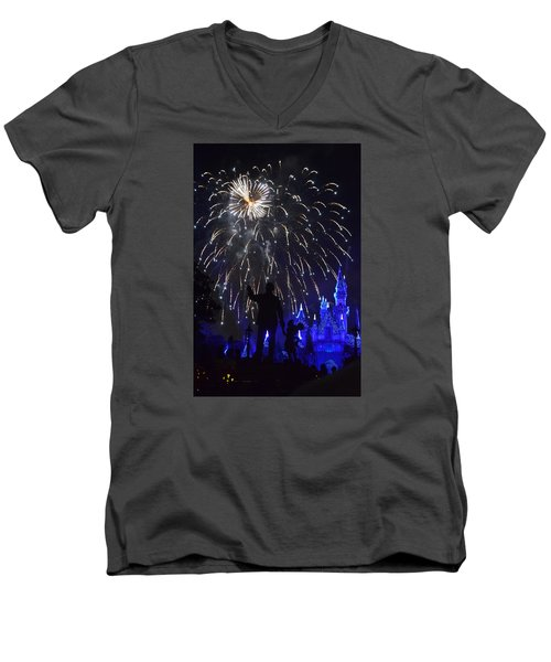 Men's V-Neck T-Shirt featuring the photograph Disney Land by Alex King