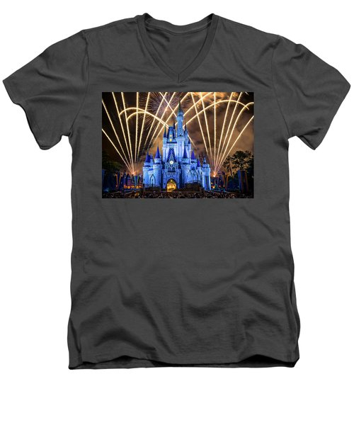 Disney World Men's V-Neck T-Shirt by Anna Rumiantseva