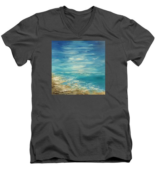 Men's V-Neck T-Shirt featuring the painting Distant Deluge by Tatiana Iliina