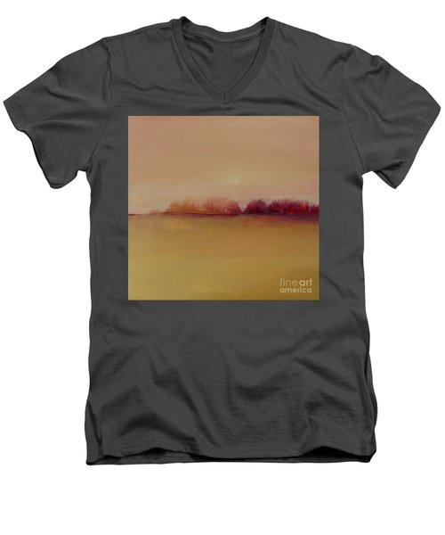 Distant Red Trees Men's V-Neck T-Shirt
