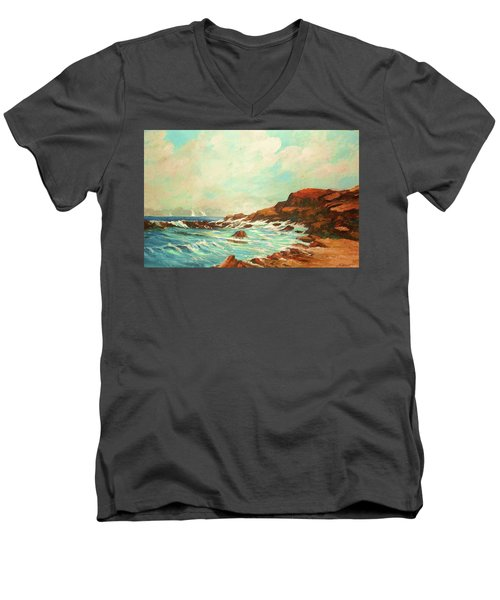 Distant Sails Of The Cove Men's V-Neck T-Shirt by Al Brown