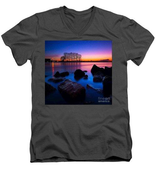 Distant Shores At Night Men's V-Neck T-Shirt