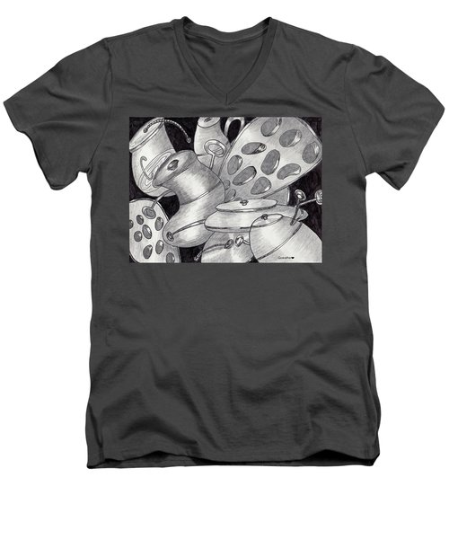 Distorted Images Men's V-Neck T-Shirt by Quwatha Valentine