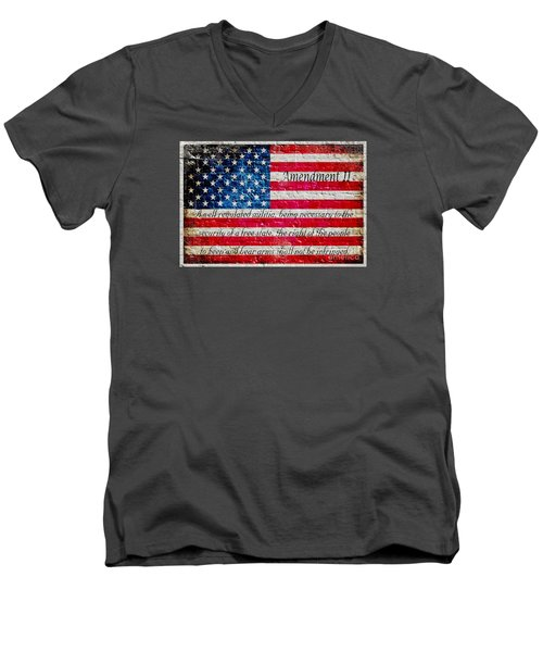 Distressed American Flag And Second Amendment On White Bricks Wall Men's V-Neck T-Shirt by M L C