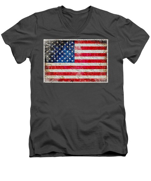 Distressed American Flag On Old Brick Wall - Horizontal Men's V-Neck T-Shirt by M L C