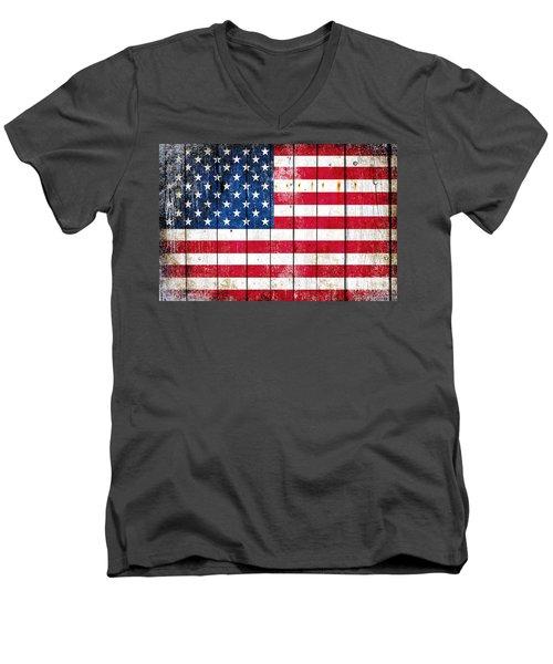 Distressed American Flag On Wood Planks - Horizontal Men's V-Neck T-Shirt by M L C
