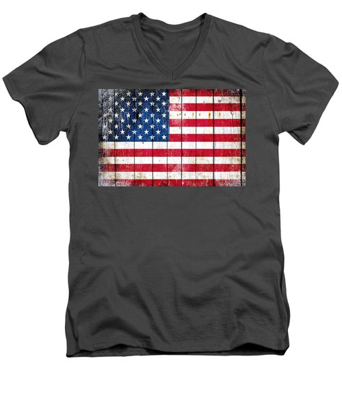 Distressed American Flag On Wood Planks - Horizontal Men's V-Neck T-Shirt