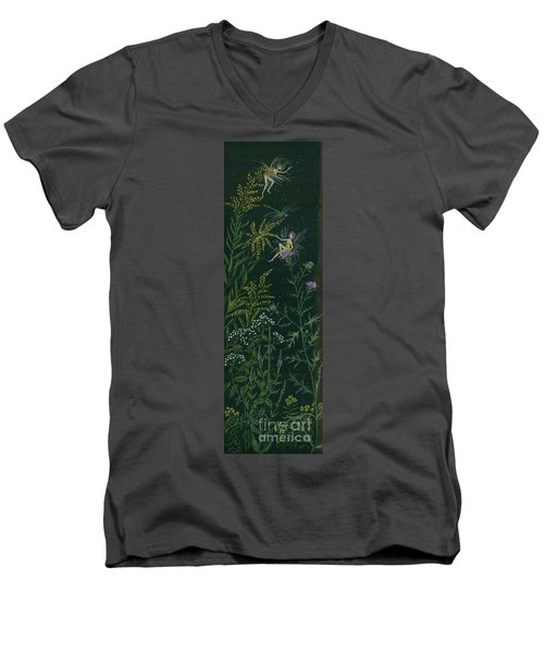 Men's V-Neck T-Shirt featuring the drawing Ditchweed Fairies Goldenrod And Thistle by Dawn Fairies