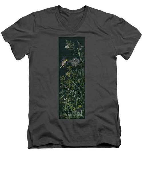 Men's V-Neck T-Shirt featuring the drawing Ditchweed Fairy Grasses by Dawn Fairies